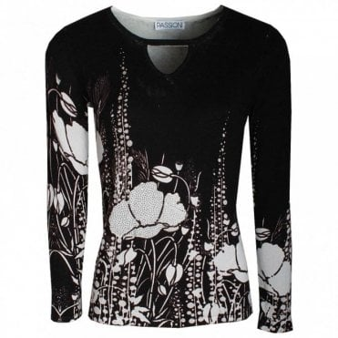 Passioni Poppy Print Long Sleeve Knitted Jumper
