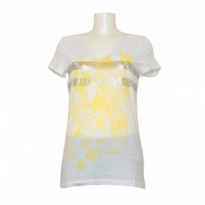 Print V-neck T-shirt With Long Sleeves