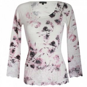 Printed Fine Knit Long Sleeve Jumper