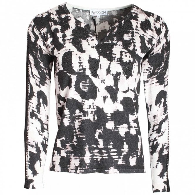 Passioni Printed Jumper With Net Panel Sleeves