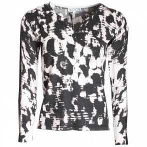 Printed Jumper With Net Panel Sleeves