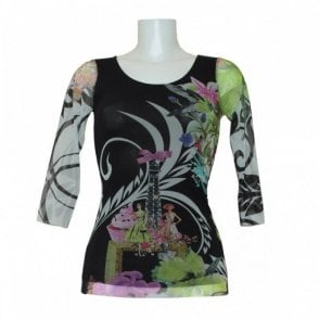Printed Long Sleeve Mesh Design Top