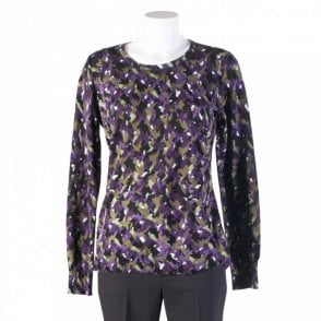 Printed Long Sleeve Top With Elbow Patch
