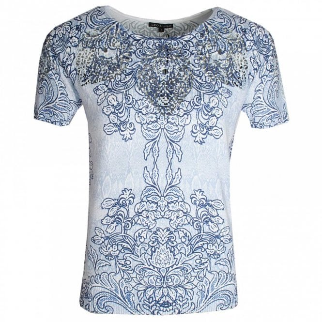 Leo Guy Printed Round Neck Short Sleeve Top