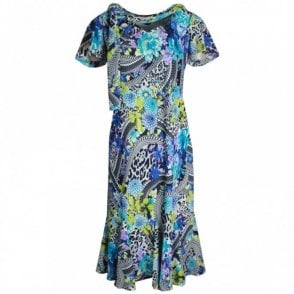 Printed Short Sleeve Dress With Scarf
