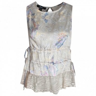 Printed Sleeveless Top With Lace Detail