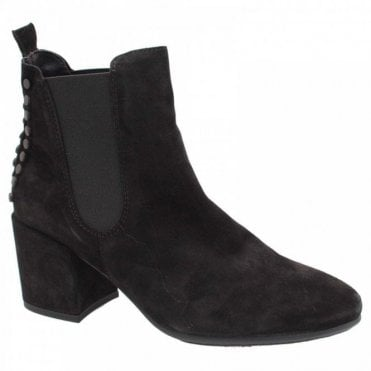 Alpe Pull On Black Suede Chelsea Ankle Boots