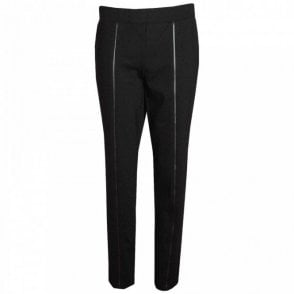 Pull On Faux Leather Detail Trousers