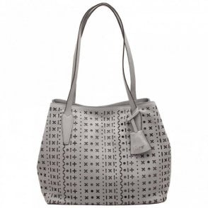 Punch Out Detail Double Strap Handbag