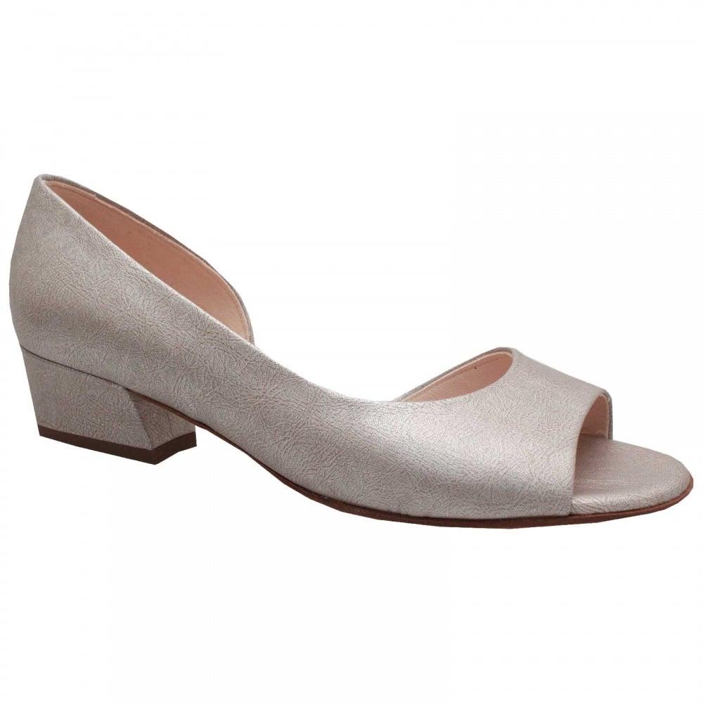 Pura Silver Side Out Low Block Heel Shoe