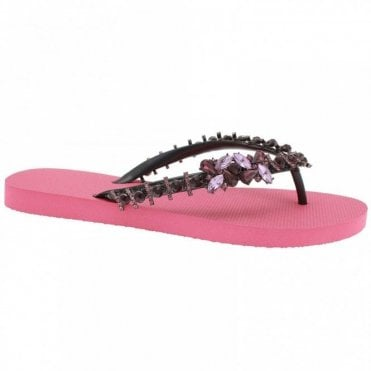 Purple Lily Diamante Flip Flop