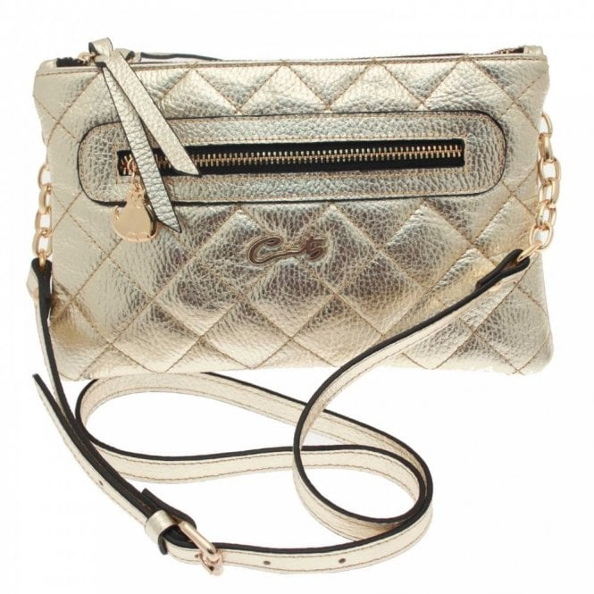 Cats Quilted Metallic Cross Body Bag