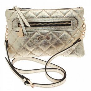 Quilted Metallic Cross Body Bag