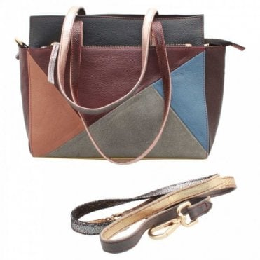 Recycled Leather Multi Panel Handbag