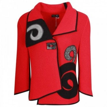 Tivoli Red & Black Swirl Detail Knit Cardigan