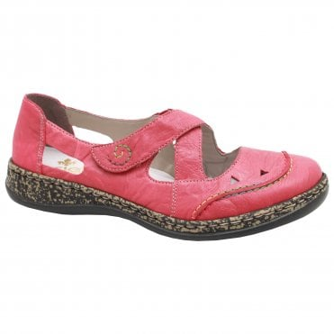e187c573fb94 Rieker Red Cross-over Strap Flat Shoes
