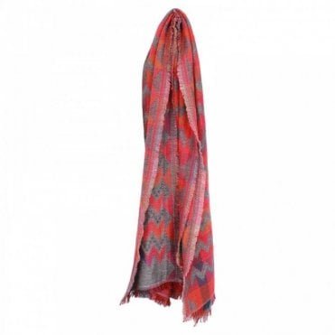 Red Geometric Design Woven Cotton Scarf