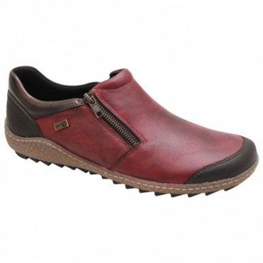 Red Leather Pull On Waterproof Shoe