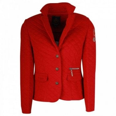 L'argentina Red Long Sleeve Jersey Blazer
