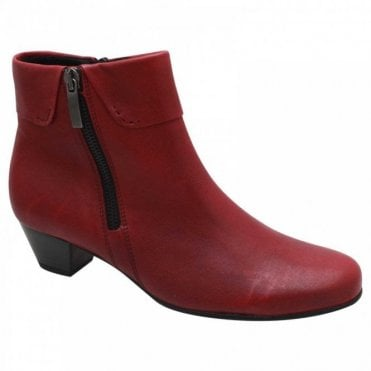 Red Low Heel Ankle Boot With Side Zip