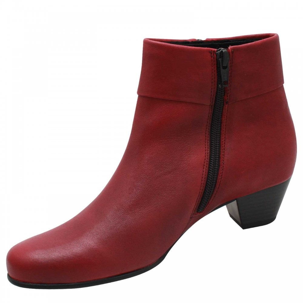 896ec1206e47 Red Low Heel Ankle Boot With Side Zip By Rieker At Walk In Style