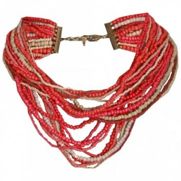 Red Nomad Multi String Beaded Necklace