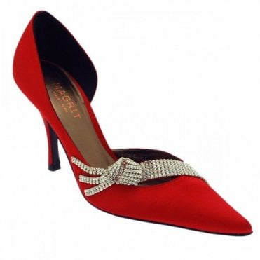 Red Satin Court Shoe Diamante Side Out