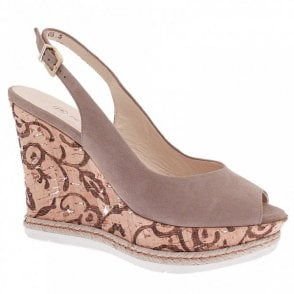 Regine Cork High Sling Back Wedge