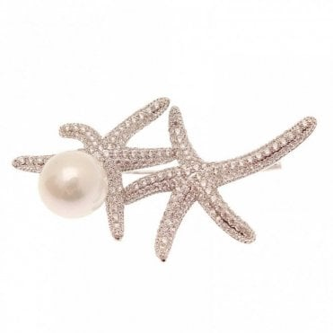 Rhodium Women's Starfish Brooch