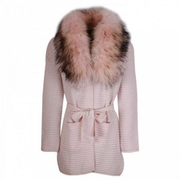 Dom Goor Ribbed Cashmere Cardigan With Fur Collar
