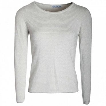 Passioni Ribbed Round Neck Long Sleeves Jumper