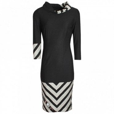 Badoo Roll Collar Chevron Print Dress