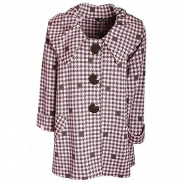 Roll Collar Long Sleeve Checked Coat