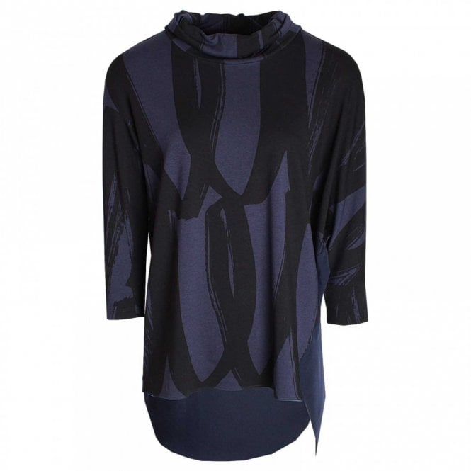 Crea Concept Roll Collar Long Sleeve Top