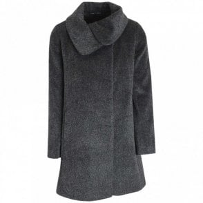Roll Collar Short Hair Wool Coat