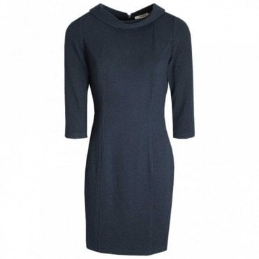 Roll Collar Textured Shift Dress