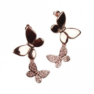 Nour London Rose & Diamante Butterfly Drop Earrings