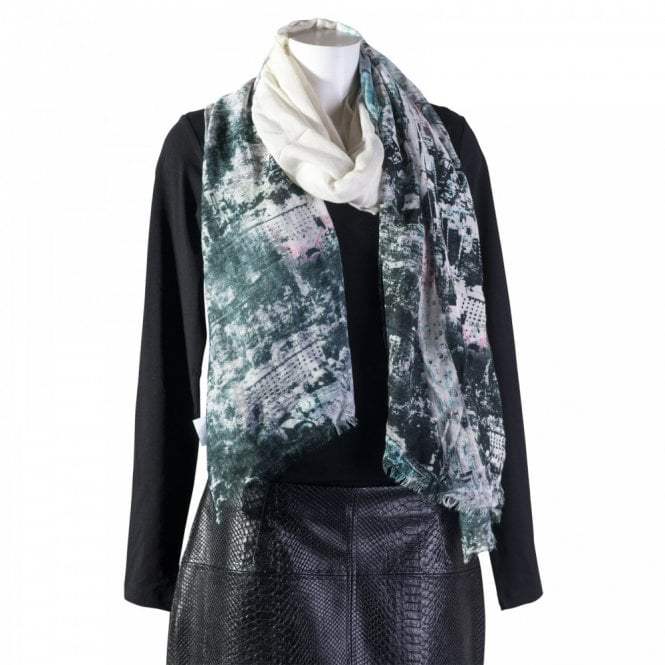 Oui Rose Print Long Scarf
