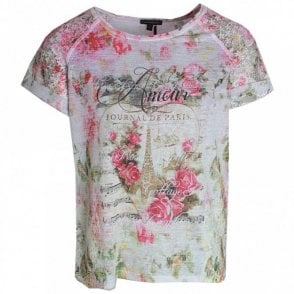 Rose Printed Short Sleeve T- Shirt