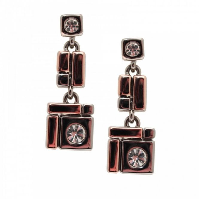 Nour London Rosegold Two Tone Geometric Earrings