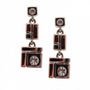 Rosegold Two Tone Geometric Earrings