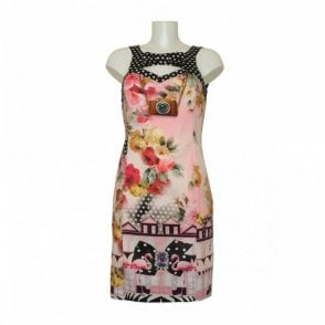Roses Print Crossover Back Dress
