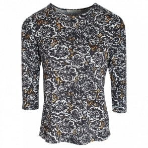 Round Neck 3/4 Sleeve Floral Print Top