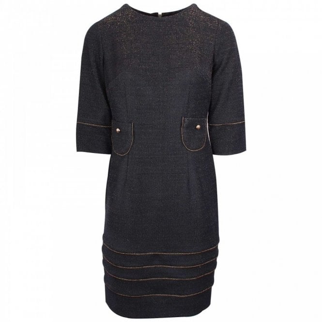 Badoo Round Neck 3/4 Sleeve Shimmer Dress