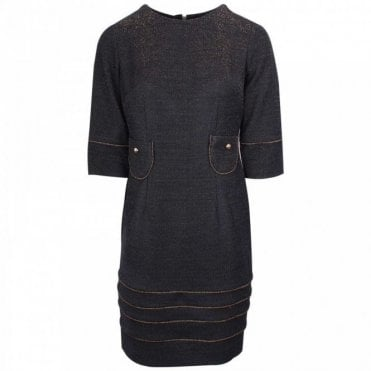 Round Neck 3/4 Sleeve Shimmer Knit Dress