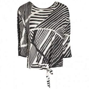 Round Neck Abstract Print Top