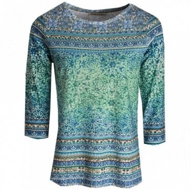 Round Neck Long Sleeve Printed Top