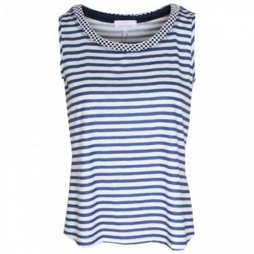 Round Neck Sleeveless Stripe Top