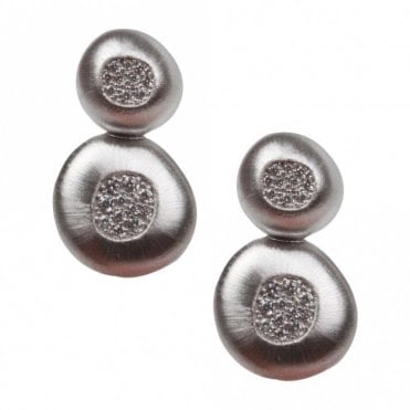 Nour London Satin Finish Double Circle Earrings