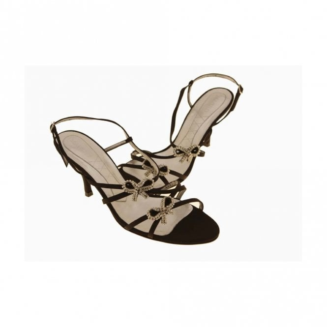 Magrit Satin Sandal With 2 Diamonte Bows On